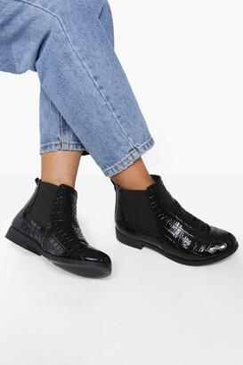 boohoo Patent Croc Chelsea Boots