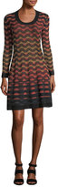 M Missoni Long-Sleeve Greek Key Open-Knit Dress