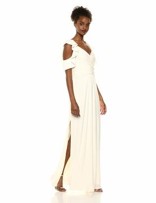 Halston Women's Flutter Cold Shoulder V-Neck Jersey Gown