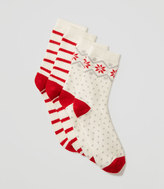 LOFT Cozy Snowflake Crew Sock Set
