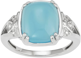Sterling Silver Blue Chalcedony Cabochon & Diamond Accent Ring