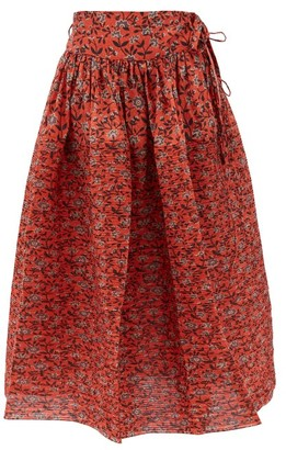 Horror Vacui Toga Floral-print Cotton Midi Skirt - Red