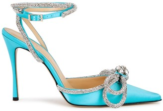 Mach & Mach 105 Turquoise Crystal-Embellished Satin Pumps