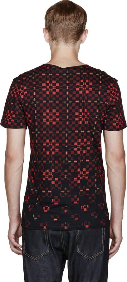 McQ Burgundy Digital Plaid Print T-Shirt