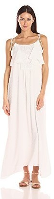 Moon River Women's Strappy Dress with Lace Trim
