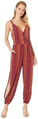 BCBGeneration Folklore Stripes Surplice Jumpsuit (Multi) Women's Jumpsuit & Rompers One Piece