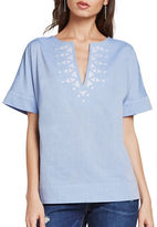 BCBGeneration Split-V Cotton Top