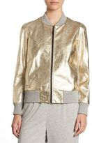 St. John Metallic Leather Bomber Jacket