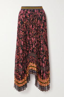 Alice + Olivia Katz Asymmetric Pleated Floral-print Crepe Skirt - Burgundy