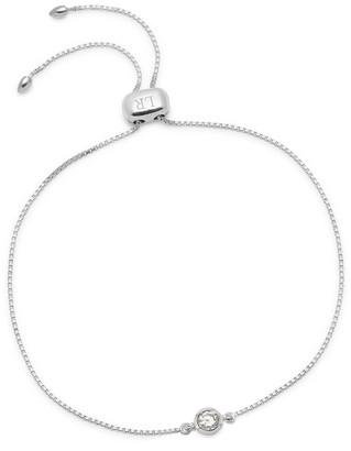 Lola Rose London Stud Slider Bracelet In Nat White Zircon Silver