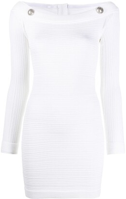 Balmain Ribbed Fitted Mini Dress