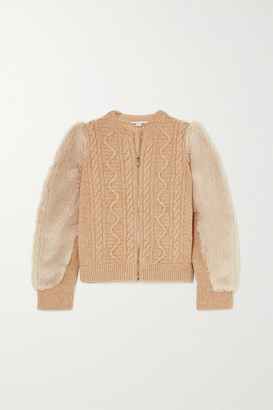 Stella McCartney Faux Fur-trimmed Cable-knit Wool Jacket - Beige