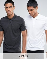 Asos 2 Pack Jersey Polo Shirt In White/Gray