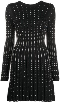 Valentino Crystal-Embellished Long-Sleeve Mini Dress