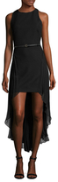 Halston Crepe Pleated High Low Dress