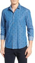Scotch & Soda Men's Extra Trim Fit Dot Denim Woven Shirt
