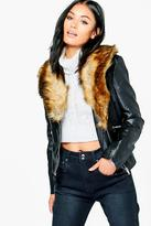 Boohoo Sophie Faux Leather Jacket With Faux Fur Collar