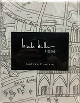 Nicole Miller Fabric Shower Curtain Ash Grey Gray White France Paris Map Print Fiffel Tower