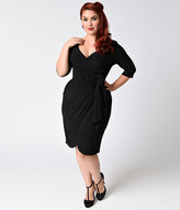 Kiyonna Plus Size Black Noir Faux Wrap Harlow Dress