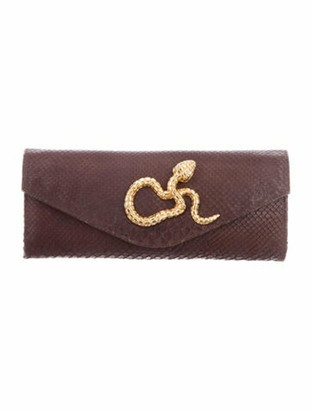 Clara Kasavina Python Envelope Clutch Brown