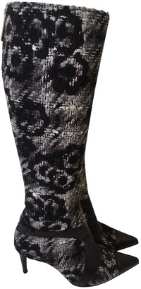 Chanel Blue Tweed Boots