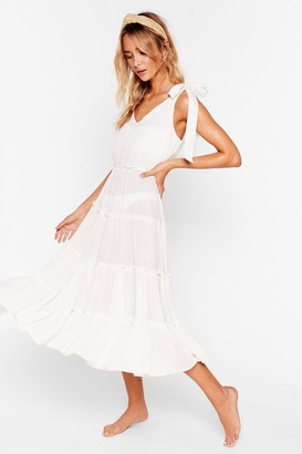 Nasty Gal Womens Cut Ties Cover-Up Midi Dress - White - 8