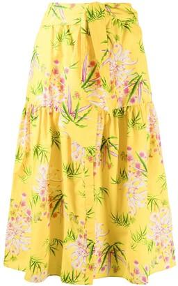 Kenzo Floral Print Midi Skirt