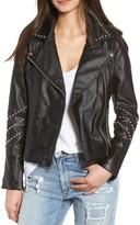 BB Dakota Women's Jerilyn Studded Washed Faux Leather Jacket