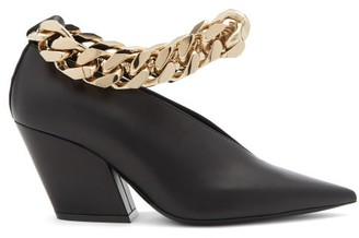 Burberry Brierfield Chain-strap Pointed Leather Pumps - Black Gold