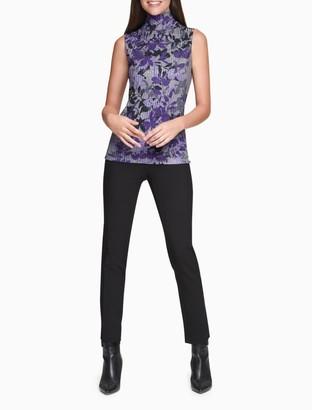 Calvin Klein Printed Ribbed Mock Neck Sleeveless Top
