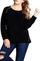 City Chic Plus Size Women's Zip Detail Sweater
