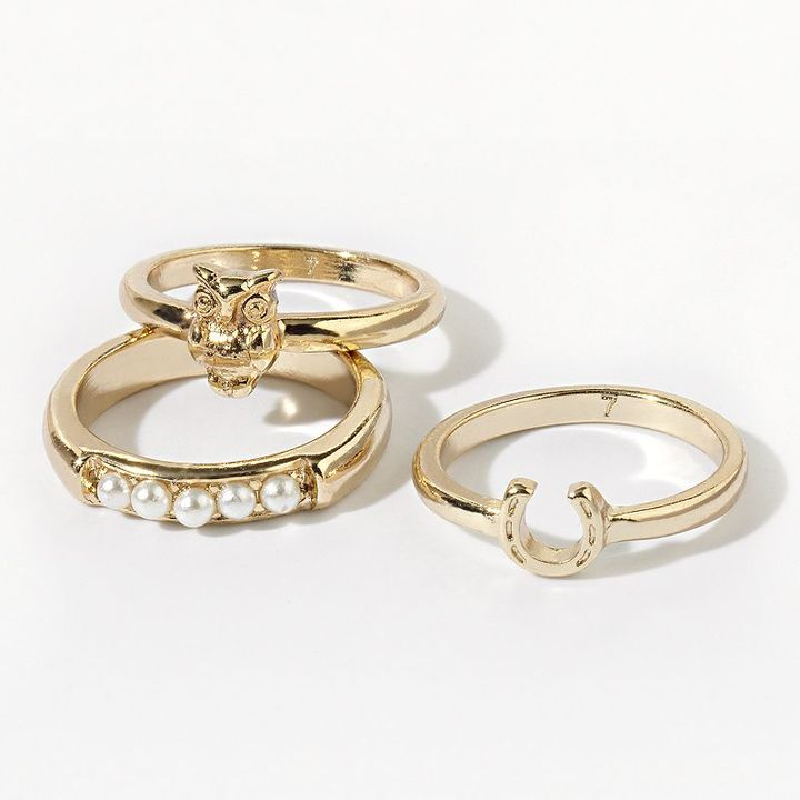 Vera Wang Princess gold tone simulated pearl stack ring set