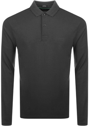 BOSS Athleisure Long Sleeved Polo T Shirt Grey