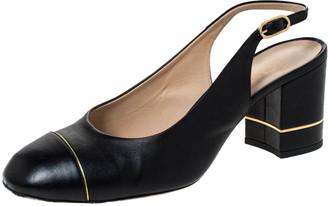 Chanel Black/Gold Leather Slingback Sandals Size 40