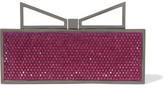 Sara Battaglia Lady Me Red Carpet Crystal-Embellished Gunmetal-Tone Clutch
