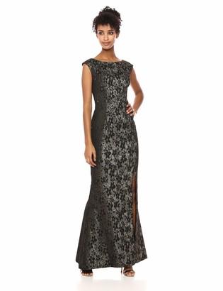 Adrianna Papell Women's Cap Sleeve Long Metallic Jacquard Dress