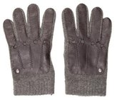 Loewe Leather-Trimmed Knit Gloves