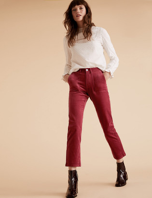 Marks and Spencer Corduroy Straight Leg Ankle Grazer Trousers