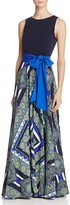 Eliza J Scarf-Print Maxi Dress