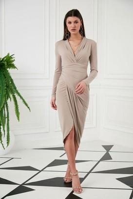 Jenerique Wrap Midi Dress with Front Slit n Nude colour