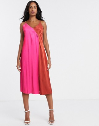 Gestuz two tone satin slip dress in pink and red