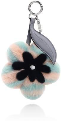 Fendi Mink Fur & Leather Flower Keychain