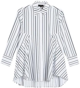 Donna Karan Icon Paneled Pinstripe Tunic Shirt
