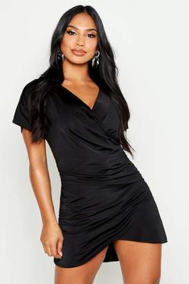 boohoo Wrap Side Rouche Shift Dress