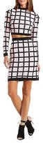 Charlotte Russe Windowpane Print Crop Top & Skirt Two-Piece Set