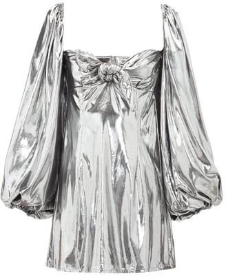 ATTICO Balloon-sleeve Lame Mini Dress - Silver