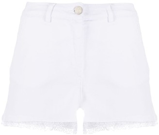 Frankie Morello High Rise Embroidered Hem Shorts