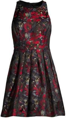 Aidan Mattox Jacquard Floral Flare Dress