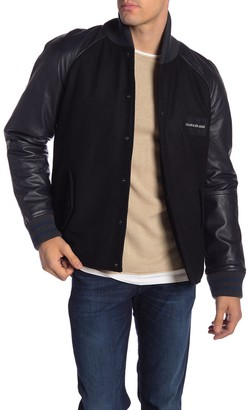 Calvin Klein Varsity Wool Blend & Leather Sleeve Jacket
