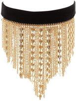 Charlotte Russe Velvet Fringe Choker Necklace